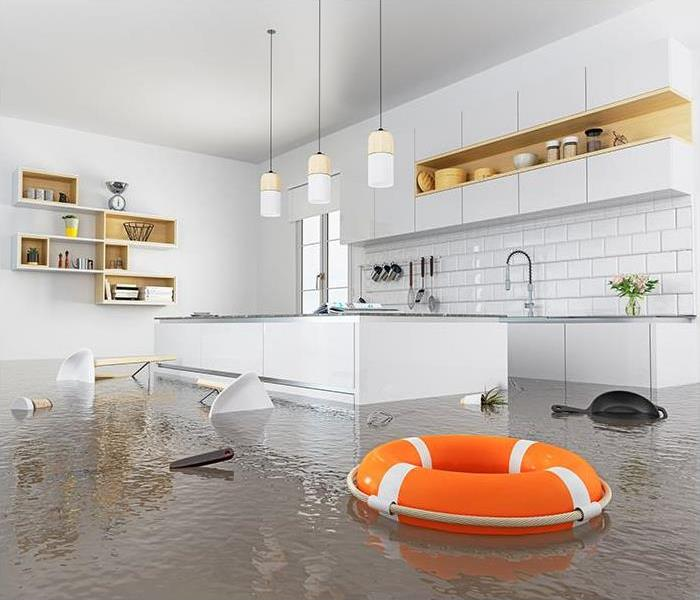Lifebuoy floating in flooded kitchen