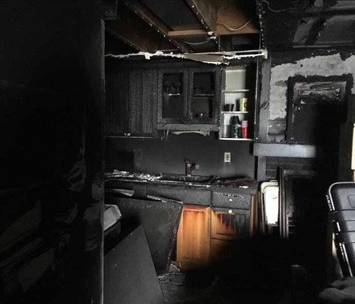Burnt and Charred Fire Damaged Kitchen Needs Demolition