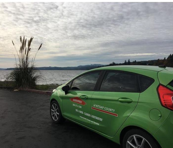 SERVPRO vehicle overlooking a body of water.